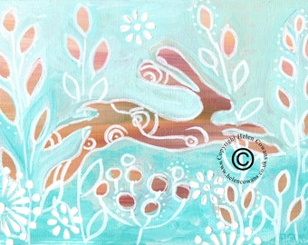 Bounding Hare #147 Original Painting