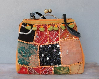 Oriental Tangerine Bag - Vintage Sari Embroidery, Kiss-lock, Leather, Velvet