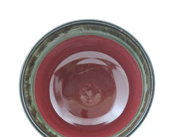 Chocolate brown bowl - red and green interior