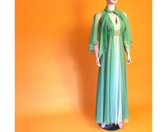 60s green chiffon evening gown | S