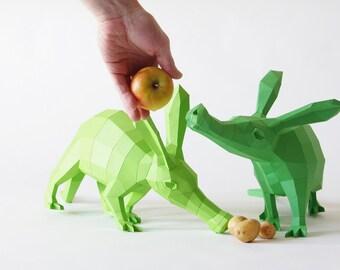 Aardvark / antbear DIY papercraft models, Erwin & Annabell (MINI)