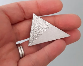 Triangle Wooden Brooch - silver triangle - geometric brooch - glitter brooch - triangle pin - glitter triangle brooch - silver triangle pin