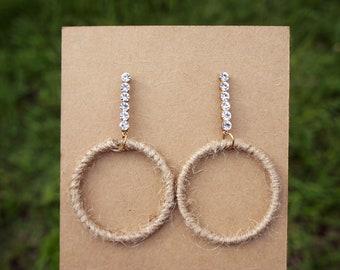 Stud Earrings, Hemp Earrings, Natural Earrings,Circle Earrings,White Crystal Earrings