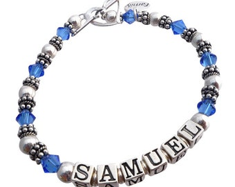 Bracelet with Child name- choose up to 4 strands and 1-10 children or grandchildren. Perfect for Mother or Grandmother, custom sizing option