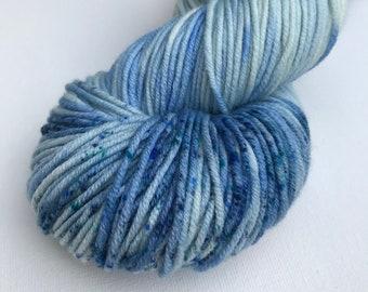 Merino DK Superwash Yarn Hand Dyed Colourway Blue Dash 2