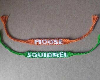 Supernatural Moose and Squirrel Bracelets