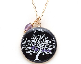 Family Tree Necklace   Personalized Family Tree Pendant   Mothers Necklace   Custom Name Necklace Gold