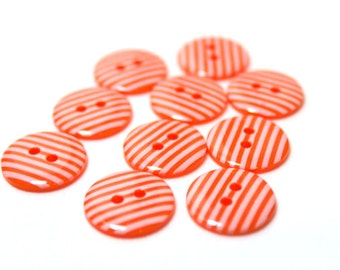 Orange and white striped 2 hole buttons. 15mm. Pack of 10