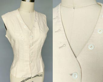 invested / 1970s cream textured linen vest / 12 14 large