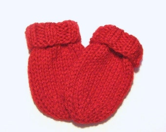 Hand Knit Red Baby Mittens Size 6 to 12 Months, Boy or Girl Infant Thumbless Mitts, Unisex Gender Neutral, Handmade Gift Warm Winter Clothes