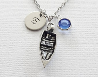 Boat Initial Necklace Rowboat Ship Boating Nautical Ocean Sea Harbor Jewelry Swarovski Birthstone Silver Personalized Monogram Hand Stamped