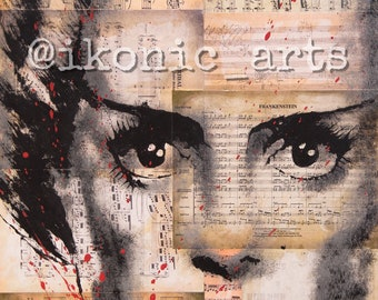11x17 Bride of Frankenstein print of an IKONIC Arts hand painted original