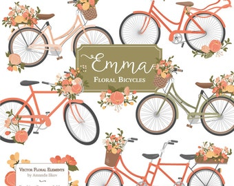Emma Floral Bicycle Clipart Vectors In Antique Peach