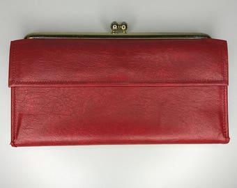 vintage red vinyl wallet