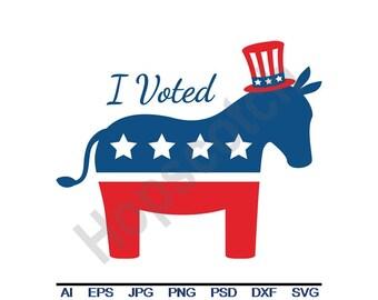 I Voted - Svg, Dxf, Eps, Png, Jpg, Vector Art, Clipart, Cut File, Donkey, Democrat