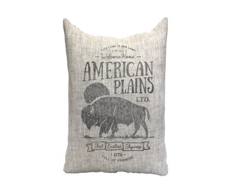 "farm pillow, buffalo pillow, farmhouse pillow, farmhouse decor, animal pillow, ""The American Plains"""