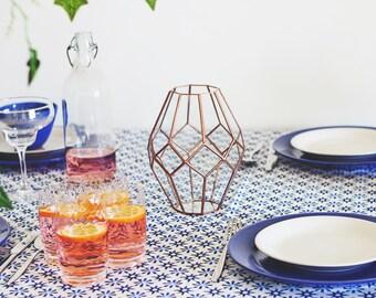 Vase géométrique en verre, centre de table mariage, morceau d'Accent étagère, cuivre Home Decor, Decor, cadeau pour femme, Pot de fleur, cadeau d'hôtesse de Table