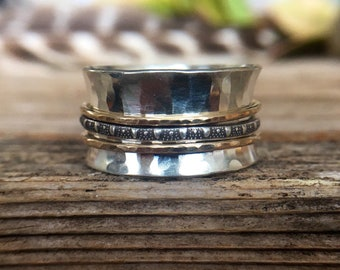 Sterling Silver Spinner Ring - Silver and Gold Spinner Ring - Patterned Silver - Oxidized - Antiqued - Contrast - Fiddle Ring - Fidget Ring