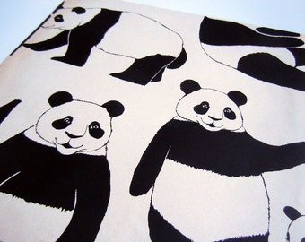 Vintage 1980's Panda Bear Kawaii Any Occasion Wrapping Paper Black White Animal Gift Wrap
