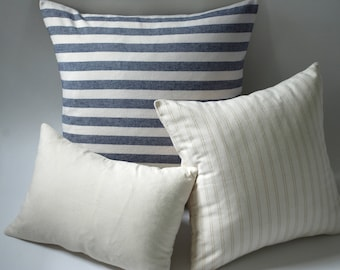 Marine & Oatmeal // Decorative Accent Pillow Covers // Handmade Throw Pillow Covers // Decorative Pillow Cases
