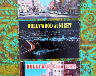 Vintage 60s / 70s unused Hollywood Los Angeles postcards x 3 Vine St Capitol Records Hollywood Boulevard