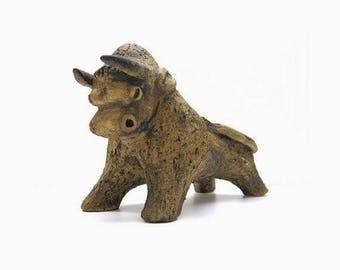 Stoneware bull / Mid Century Figurine
