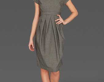 Plus Size Clothing, High Waist Dress, Business Dress, Midi Dress, Short Sleeve Dress, High Collar Dress, Pleated Dress, Elegant Dress