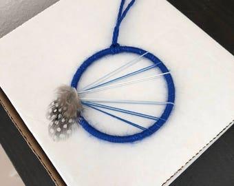 Small dream catcher metallic blue ornament