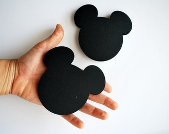 Mickey die cuts, Mickey Mouse die cut, Mickey heads, (4 x3.75 inches), Set of 18 heads in Black, party die cuts, A256