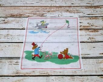 Vintage Kids Hankies, Children's Handkerchief, Childs Hankie, Vintage Handkerchiefs, Dog Hankie