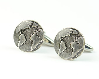 Earth world Cufflinks - World silver plated Cuff Links - Handmade Mens Accessories - Gifts For Him - Groomsmen - Groom