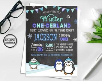 Winter Onederland Birthday Invitation, Penguin Birthday Party Invitation, Wonderland Boy First Birthday Invitation, Penguins