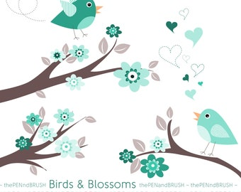CLIP ART: Birds and Blossoms Pack // Blue Turquoise and Mauve // Scrapbooking // Cherry Blossoms // DIY Cards Invitations // Teachers