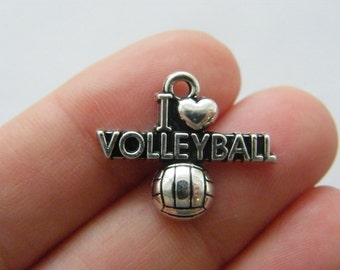 4 I love volleyball charms silver tone SP222