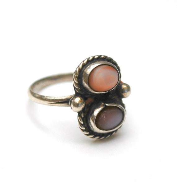 sterling Flower ring - pink moonstone chalcedony cabochons - size 6 -  southwestern