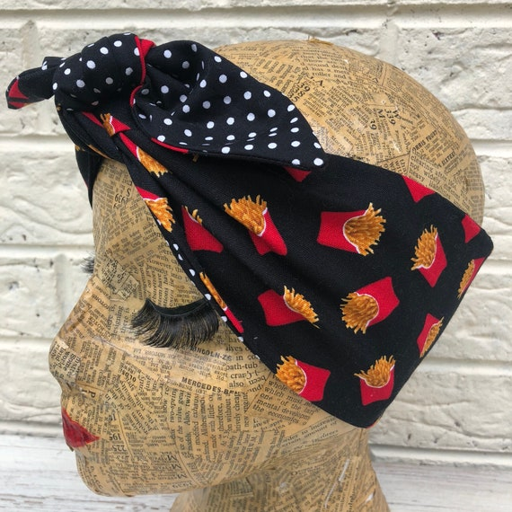 French fries polka Dot Headscarf Rockabilly pinup 1950's inspired