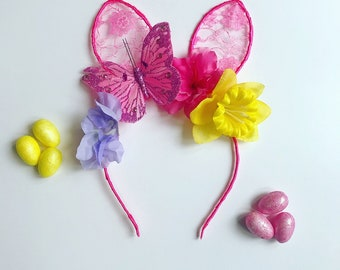 Pink Lace Easter Bunny Ears Flower Head Band Hair Band