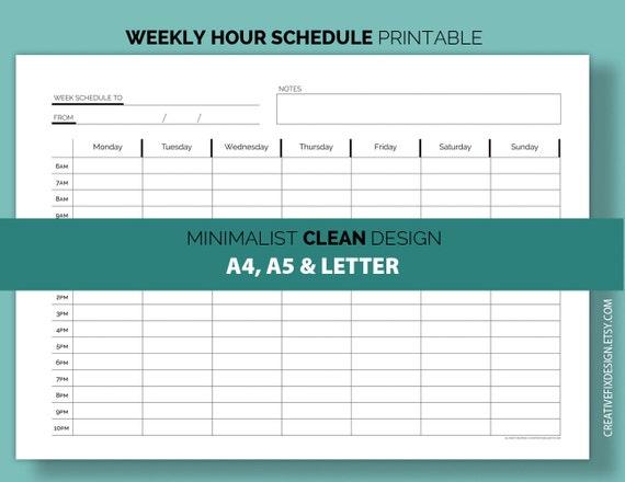 weekly hour schedule