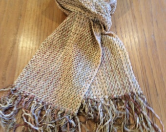Handwoven amber chenille scarf