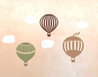Wall Decals, Hot Air Balloon Wall Decal Set, Childrens Wall Decals, Nursery Wall Art, Hot Air Balloon Wall Stickers,Small Set