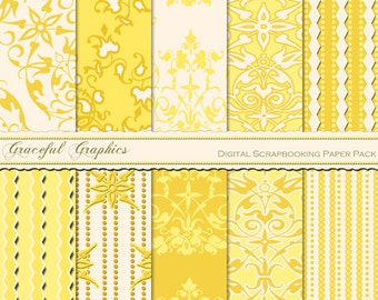 Scrapbook Paper Pack Digital Scrapbooking Background Papers DAMASK 10 8.5 x 11 Sheets GOLDEN Yellow White Diamond Stripes 1038gg
