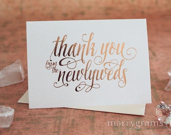 ROSE GOLD FOIL Wedding Thank You Cards from the Newlyweds Wedding Thank You Notes, Thank You Notes from Bride & Groom Fancy, Shimmer CS12
