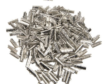 500 pieces - 20mm or 3/4 inch Platinum Silver Ribbon Clamps - Artisan Series