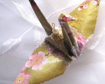 Plum Blossom Peace Crane Bird, Wedding Cake Topper, Party Favor Origami Christmas Ornament Japanese Paper Anniversary Place Card Holder