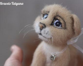 Needle felted cat Murzik,felted cat,felt toy,needle felt kitten,felting animal,needle felted animal,wool figurine cat,Felt ornament,handmade
