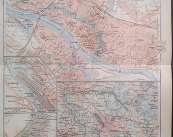 """Lithography, """"Bremen around 1900"""""""