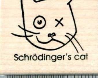 Schrodinger's Cat Rubber Stamp, Science Series E34008 Wood Mounted