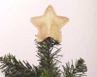 Mini Sparkle Vinyl Star Tree Topper Decoration in gold