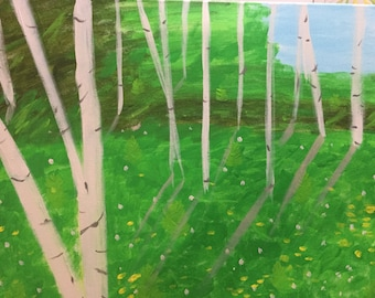 Aspens In The Spring 16 X 20 original acrylic on wrapped canvas