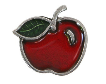 Danforth Red Apple 7/8 inch ( 22 mm ) Pewter Metal Shank Button